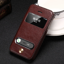 For iPhone 4 4s Case Luxury PU Leather Window Stand Design Flip Cover Phone Case Brand New Hot Style