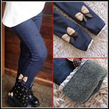 2015 nuovi capretti delle ragazze pantaloni di cotone jean arco cachemire elastico in vita delle ragazze legging pantaloni caldi inverno primavera pantaloni dei bambini(China (Mainland))
