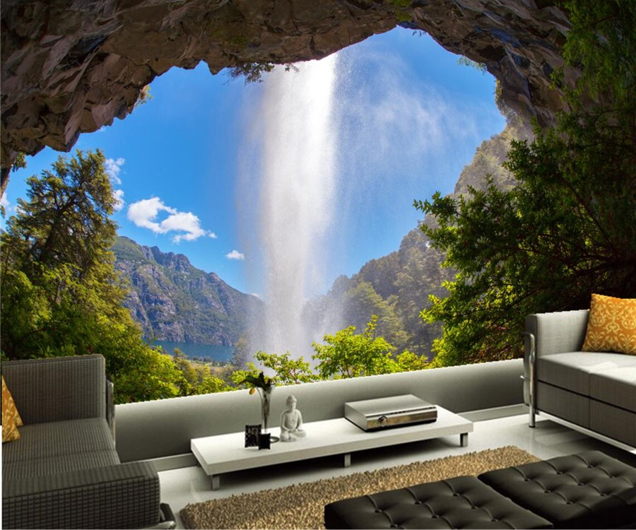 Custom mural wallpaper argentina waterfalls crag nature for Nature wallpaper for bedroom