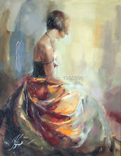 short hair Sexy Lady Modern Art Skilled Artist Handmade High Quality Knife Beauty Oil Paintings instrument Painting On Canvas(China (Mainland))