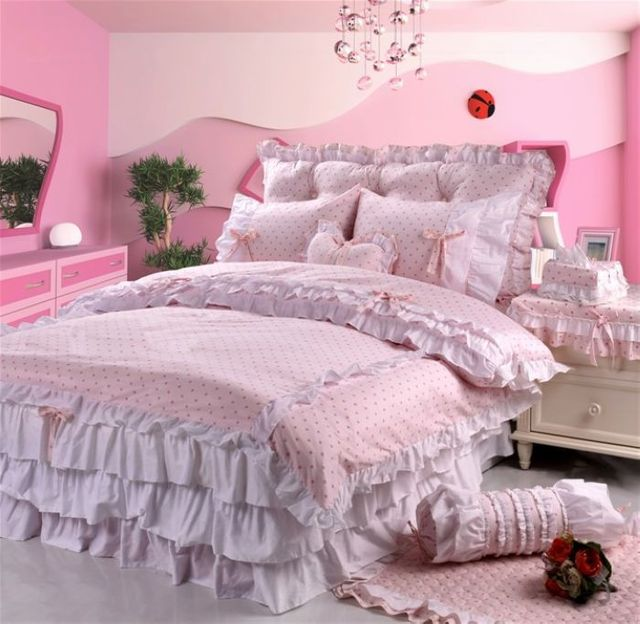 FREE SHIPPING! Rustic puff sleeve princess laciness bedding jade powder dot piece set