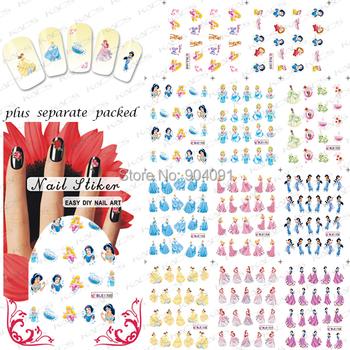 HOTSALE 20sheet/lot Beautiful Princess Cartoon Nail Art  sticker Design nail accessories for nail art +individually package