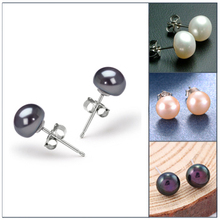 Hot Selling 925 Sterling Silver Earrings For Women Natural Freshwater Pearl Earrings Stud Earings Brincos(China (Mainland))