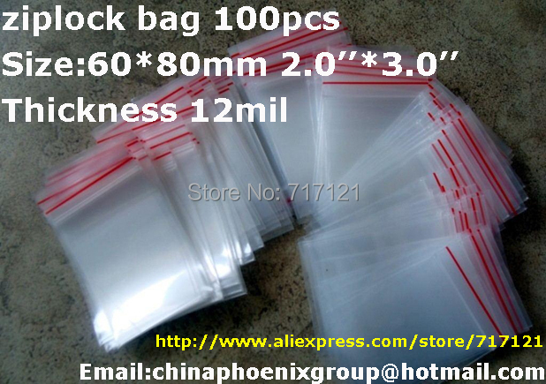 Jewelry Ziplock Zip Lock Reclosable Plastic Poly Clear Bags ~6X8cm 2''*3'' 12mil 100PCs free shipping(China (Mainland))