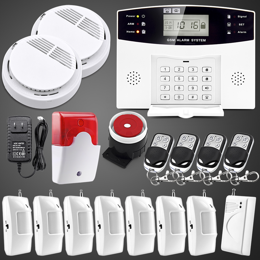 English Russian Spanish French Voice  Wireless GSM Alarm system Home security Alarm systems LCD Keyboard Sensor Smoke Detector