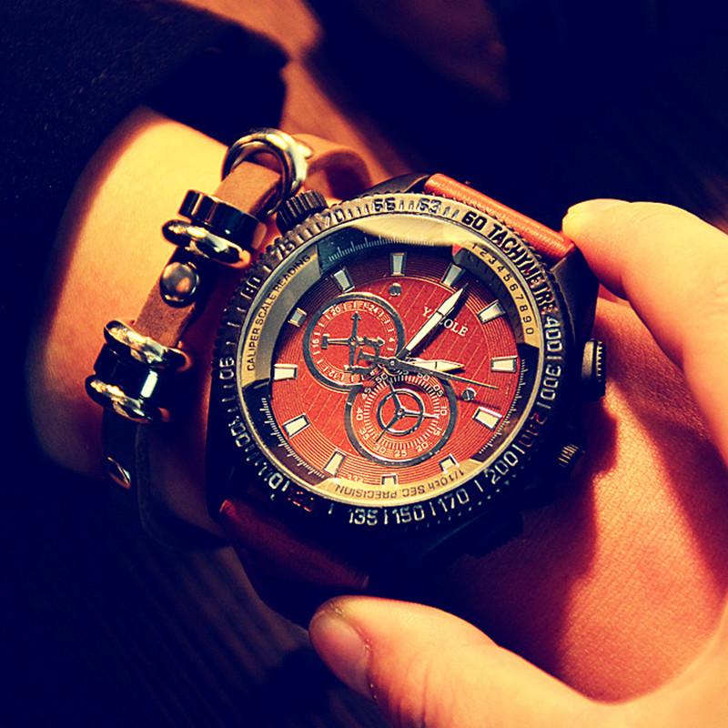 Fashion Leather Watches Men Business Sport Noctilucent Big Dial Wristwatch Quartz Watch Personality Casual Relogio