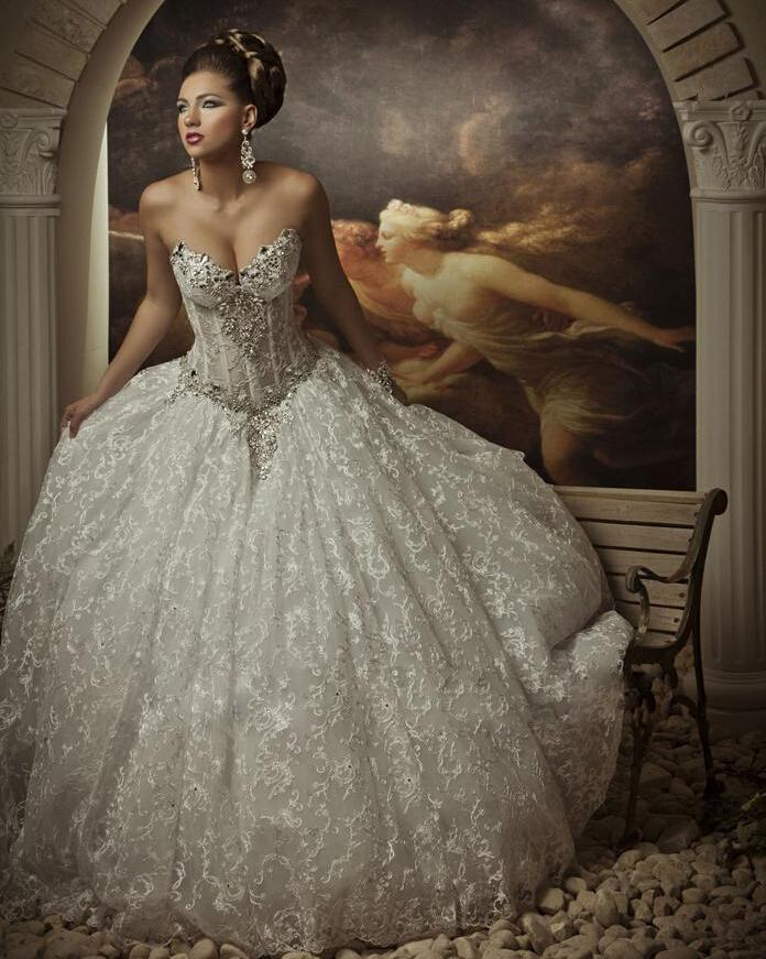 ... Rhinestone Lace Princess Wedding Dresses Bridal Gowns Ball Gown W153