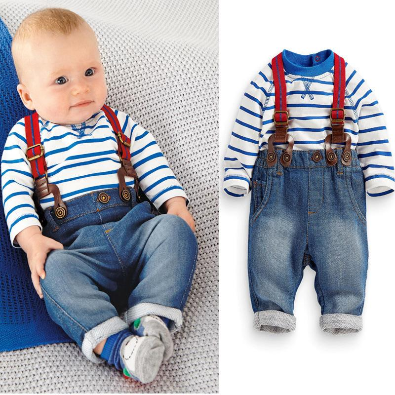 Children's baby clothing set boys suit t-shirt+pant +straps 3pcs/set Autumn and winter infant garment kids clothes wear for Bebe(China (Mainland))