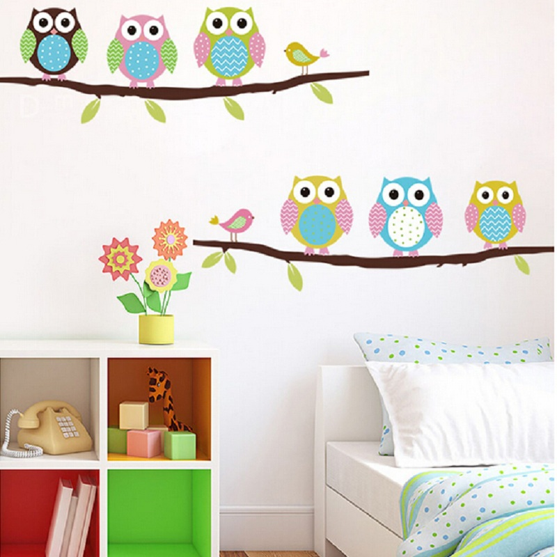 2016 New Arrival Home Decor PVC Christmas Wall Decals Wallpaper Owls on Tree Wall Stickers for Kids Room DIY Decorative Poster(China (Mainland))