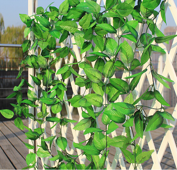 Free Shipping 10pcs/lot Simulation rose leaf vines hanging fake leaves rattan pipe indoor sitting room wall festival decorate(China (Mainland))