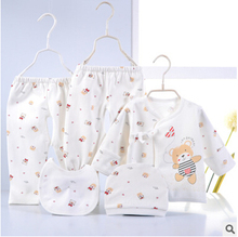 0-6 months 5 piece cartoon printing newborn baby clothing set 100% cotton material 3 colors choice roupas infantis menino BC3331(China (Mainland))