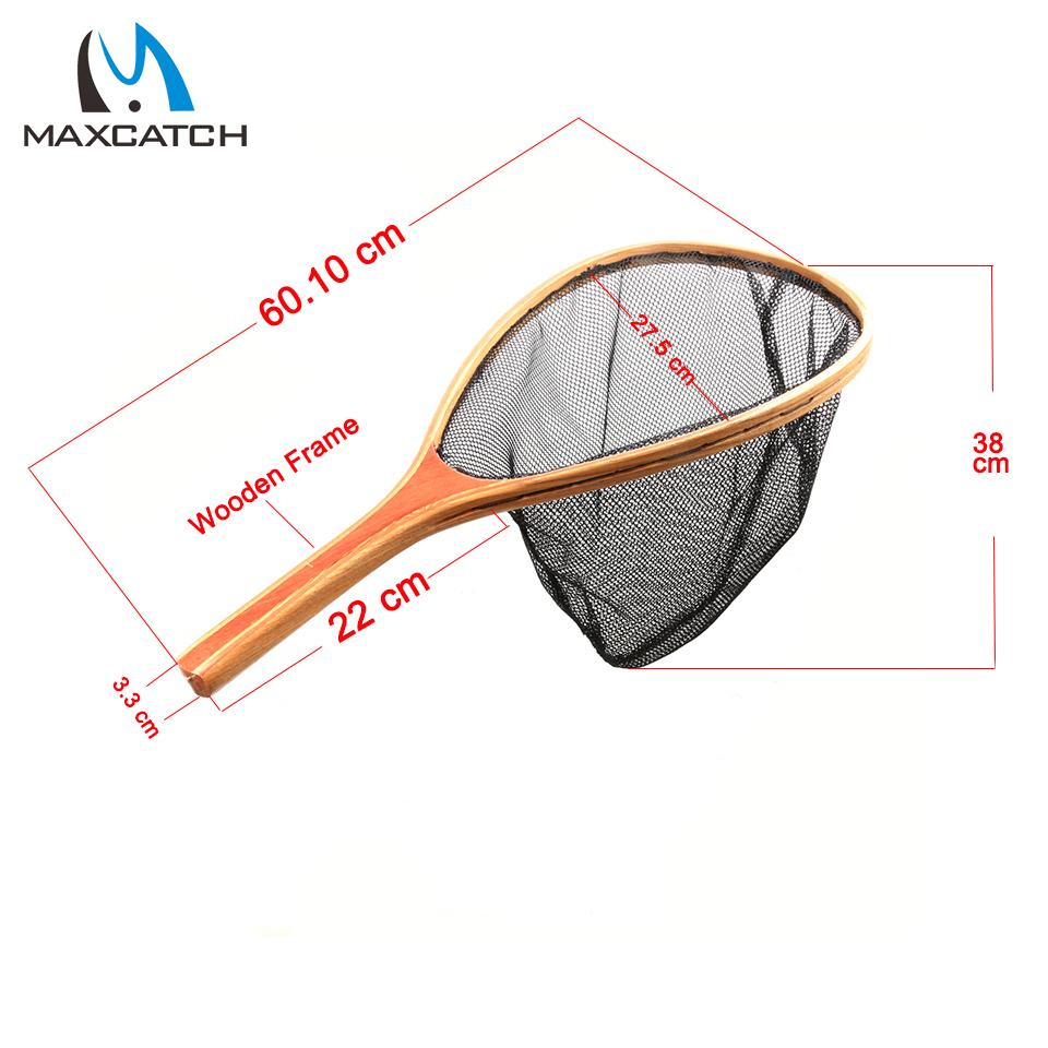 Buy nylon landing fly fishing net wooden for Wooden fishing net