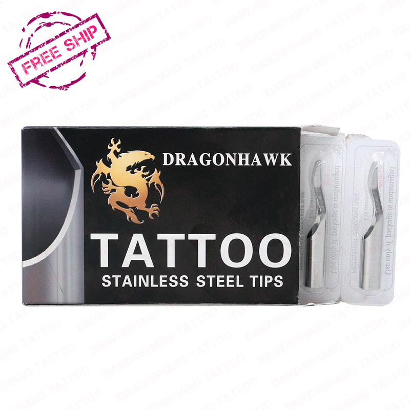 Free shipping cheapest top 8 Pcs Stainless Steel Tattoo Tips for tattoo machine kit