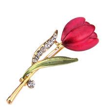 Hari Valentine Hadiah Mawar Merah Kolektor Bros Bunga Bros Pin Perhiasan Kristal Aksesoris Pakaian Perhiasan Bros untuk Wanita(China)