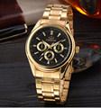 New Fashion Brand Watch Men Dress Watches Golden Gold Full Steel Analog Quartz Men Crystal Fashion
