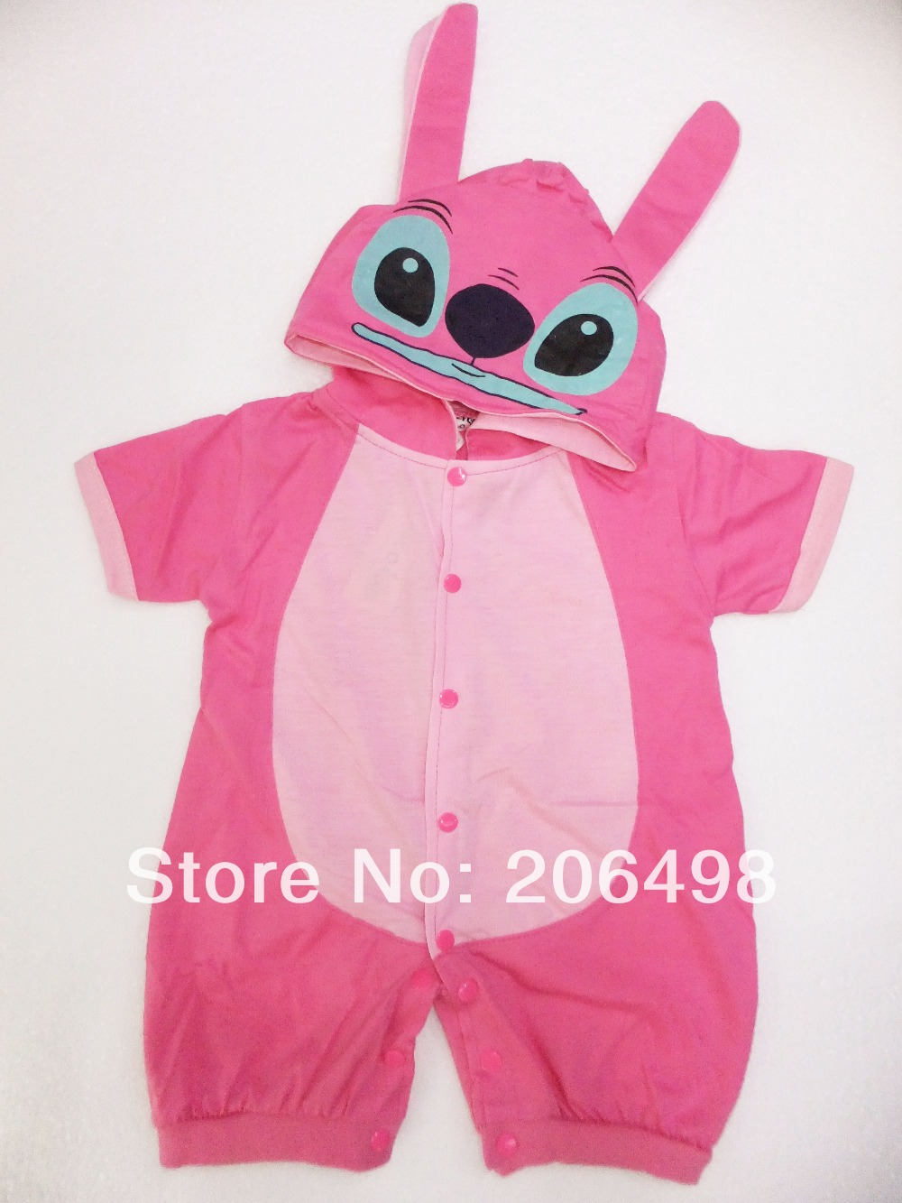 Retail Autumn Pink&amp; blue short sleeves baby wear girls&amp;boys romper babys Stitch Christmas style romper print Stitch rompers +hat<br><br>Aliexpress