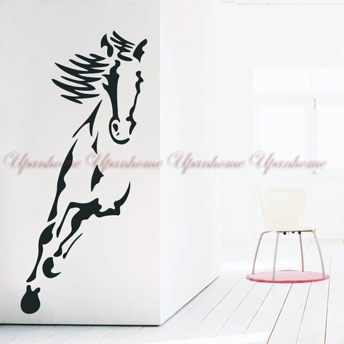 Wall Art Horse Decals : Small size wild animal running horse art wall