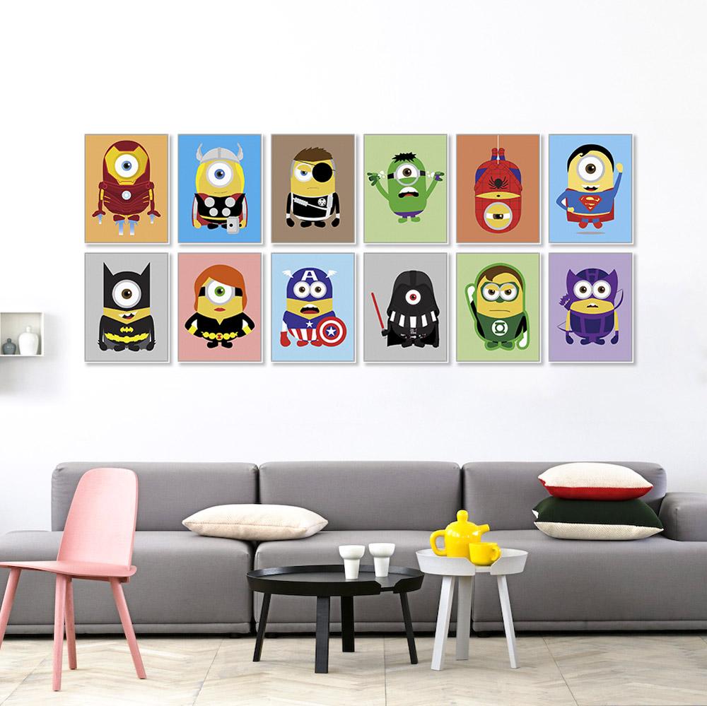 Minions superheros avengers batman funny pop anime movie a4 art print poster kawaii wall picture - Amusing kids room curtains ...