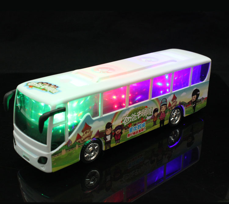 2015 latest hot toys Universal electric  music  toy bus   children's  favourite model  toys bus  free  shipping(China (Mainland))