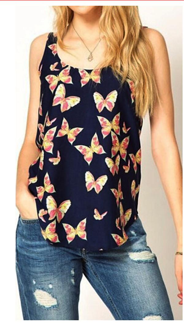 New Fashion Women Girls Lady Casual Butterfly Print Sleeveless Chiffon Tank Top Shirts Crew Vest Whosale Price Lucky(China (Mainland))