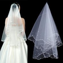 Fashion Bridal Veil One Layer Simple Crystal White Tulle Bead Bride Wedding Accessories Veil Of Bride Velos De Novia(China (Mainland))