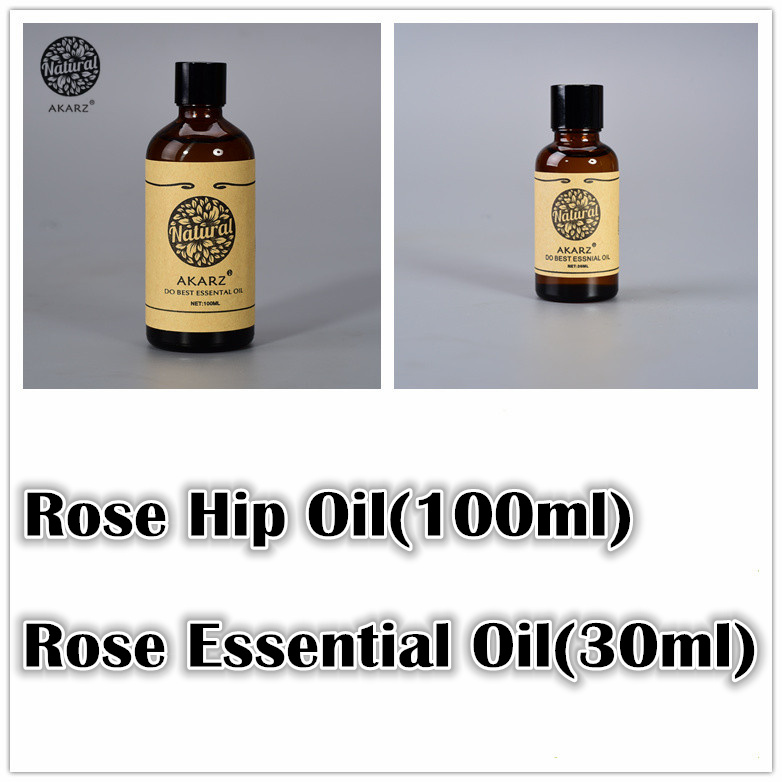 Famous brand AKARZ Whitening sets pure Rose essential oil(30ml) Rose Hip oil(100ml) Repair body Massage spa Oil Rose Oil(China (Mainland))