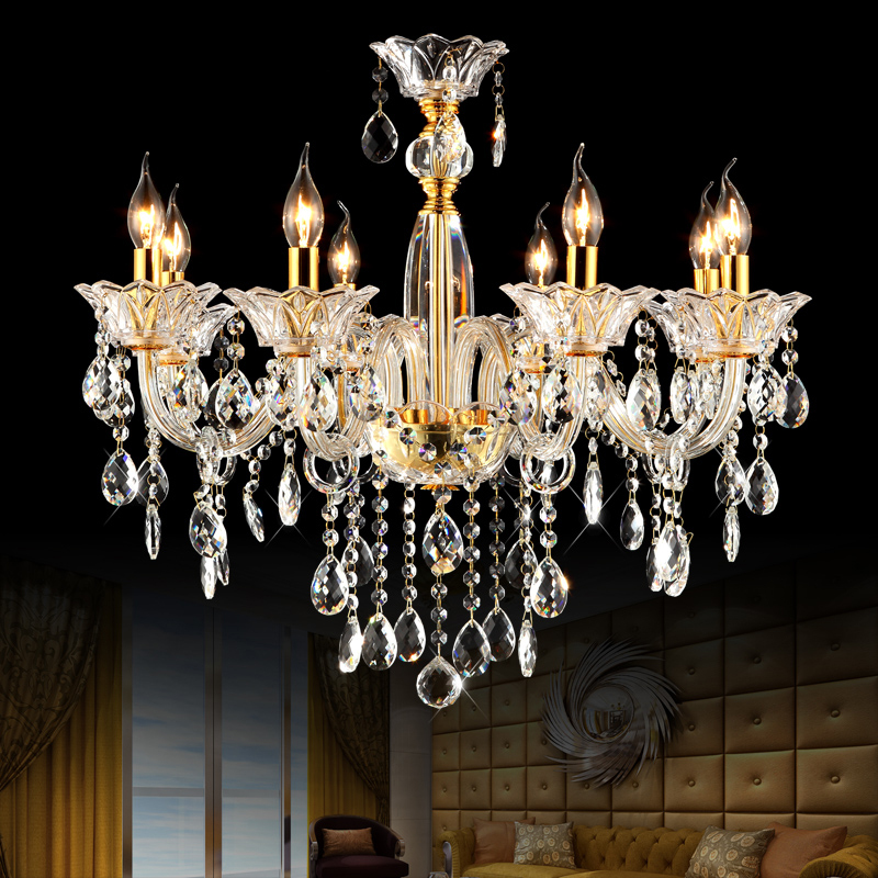Buy modern glass chandelier bedroom ceiling chandelier 8 lights luxury crystal - Dining room crystal chandelier lighting ...