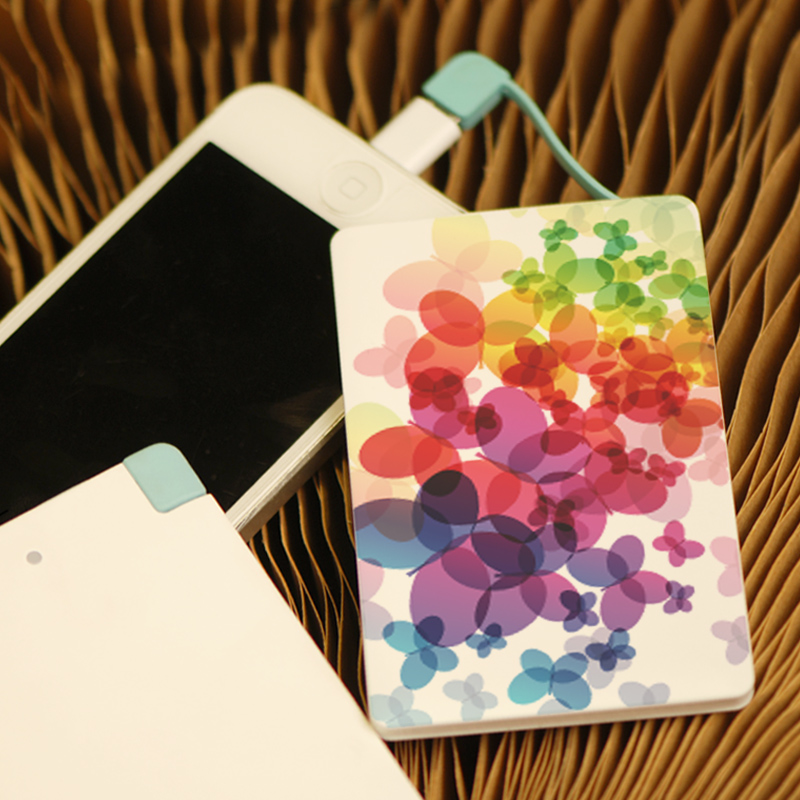 High Efficiency Portable Card Style Painted Battery Power Bank Charger For iPhone 6 6 Plus 5 5s 5c For Meizu(China (Mainland))