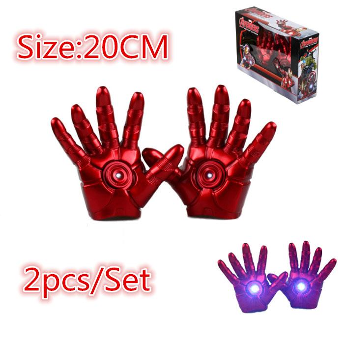 2pcs/set Superhero Iron Man Mark 3 Gloves with LED Light PVC Action Figure The Avengers Age Ultron Cosplay Guantes Toy #E