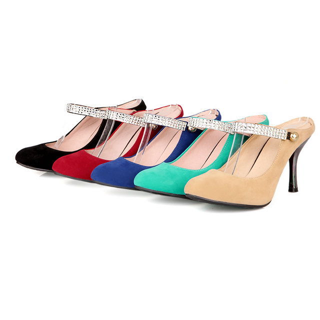 Mary Jane Fashion rhinestone thin heels women slingback pumps High shoes