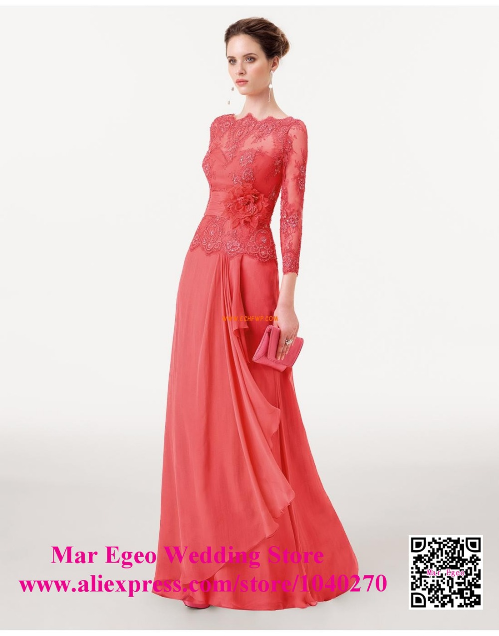 Coral mother of the bride lace dresses with flower pant for Boda en jardin vestidos