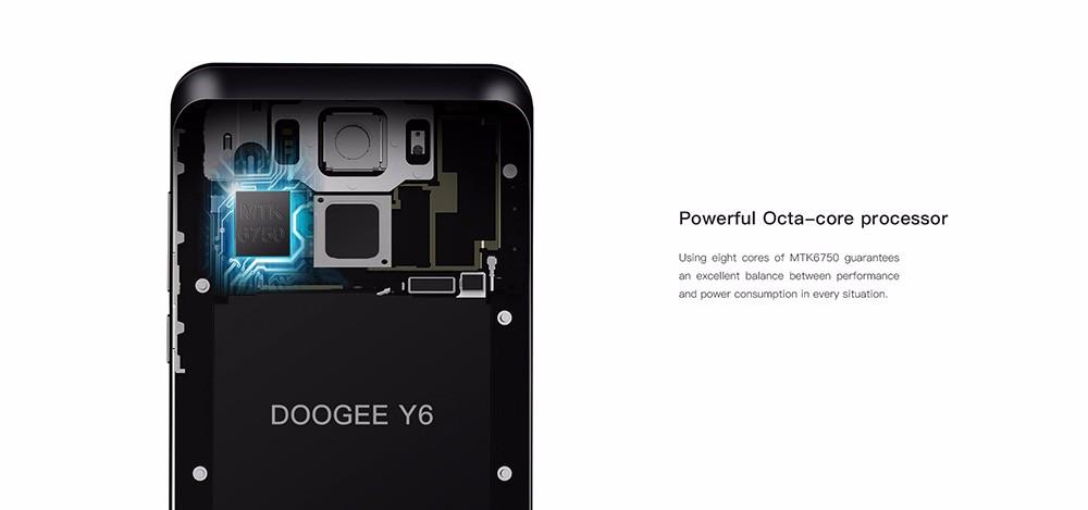 Original Doogee Y6 5.5Inch MTK6750 64-Bit Octa Core Smartphone Fingerprint HD 2GB+16GB Android6.0  13.0MP 3200mAH 4G LTE WCDMA