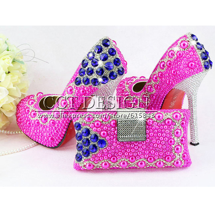 Rose Wedding Shoes Ladies High Heel fashion Rose beading Pearl Shoes platform elegant party bridal shoes and bags to match<br>