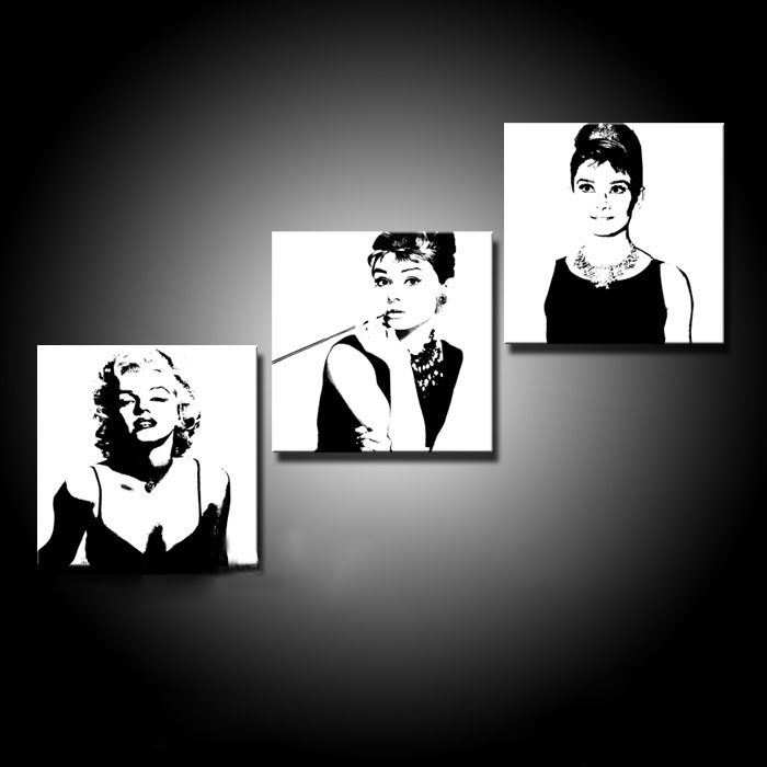 3 Pieces Wall Art Picture Painting Black And White Marilyn Monroe Audrey Hepburn Frameless Oil Painting Prints Peinture(China (Mainland))