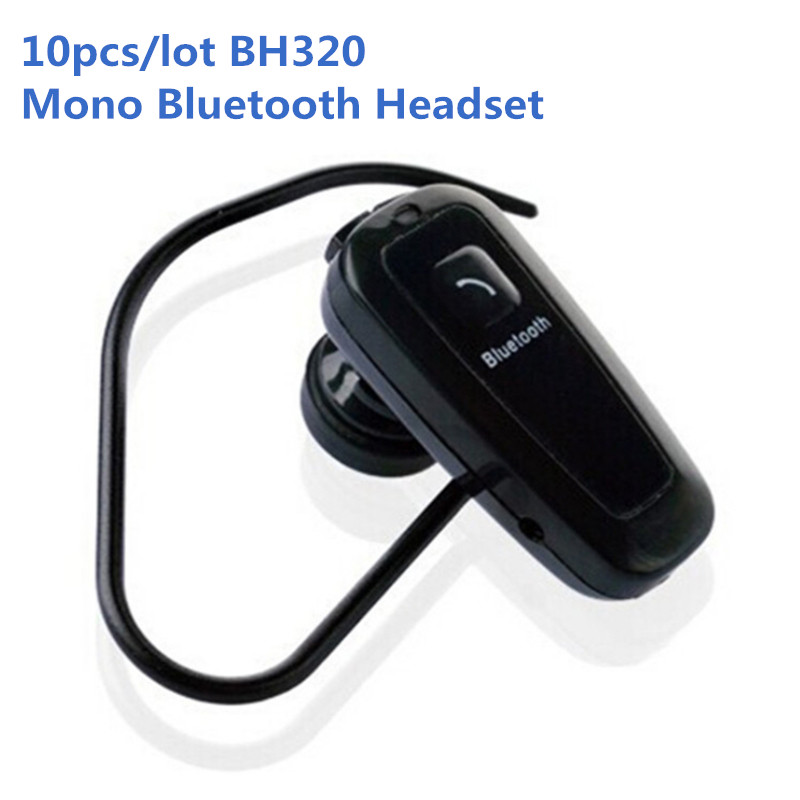 10pcs/lot BH320 Mono Bluetooth Headset with Mic Ear Hook Earphone Wireless Headphones for Hands Free Call Music Not Supported(China (Mainland))