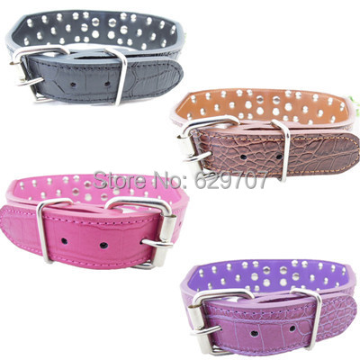 2 Inch Wide Croc Leather Dog Collar Personalized Spiked Collar For Pitbull Large Pet Dog Supplies