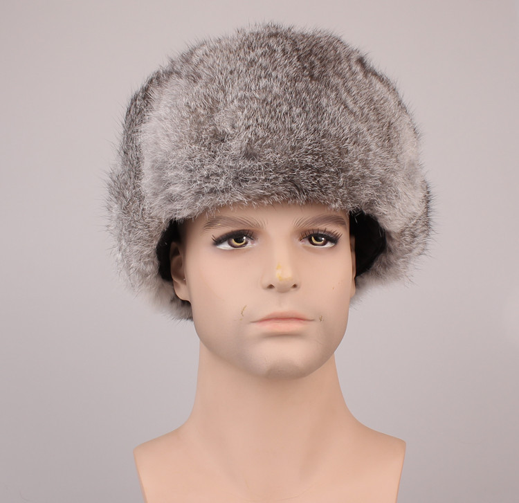 russian hats for men Autumn winter cap with natural rabbit fur. black gray Men ski earflap Warm fur bomber hat H210(China (Mainland))