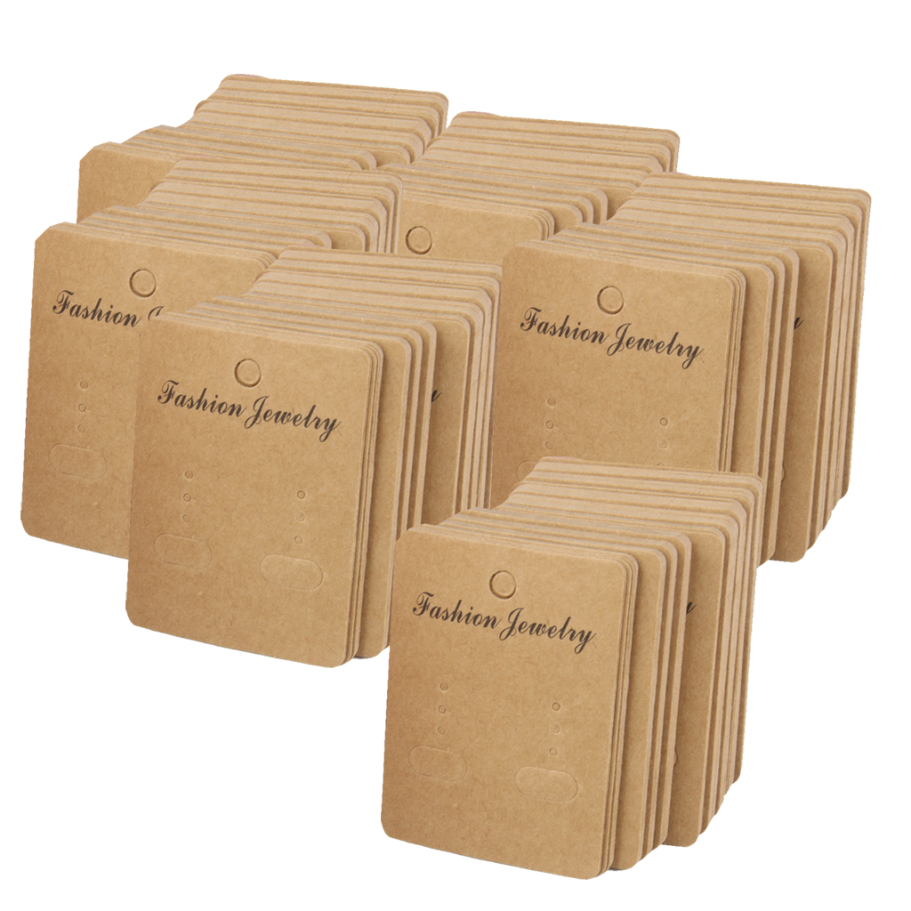 5x 100 Kraft Paper Earring Ear Studs Brooch Jewelry Hang Label Cards Holder