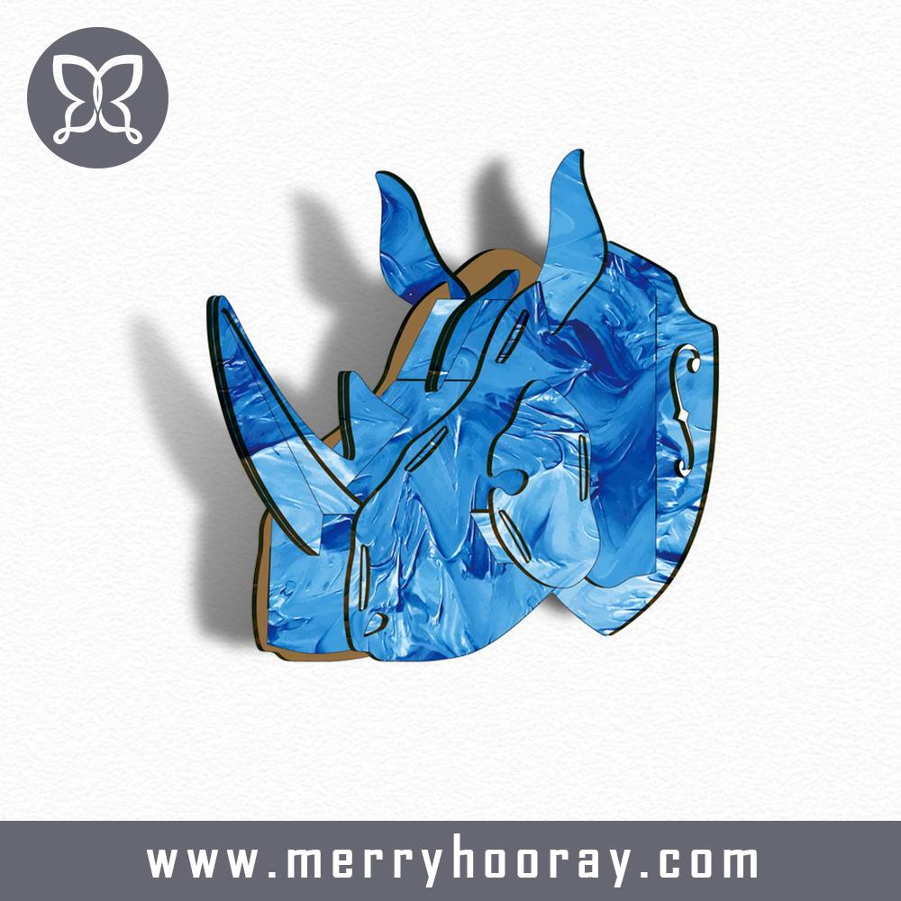 India Modern Interior Decorative Creative Rhino Head Craft 3D DIY Wooden Animal Heads Hangings Bar&Shop Decor(China (Mainland))