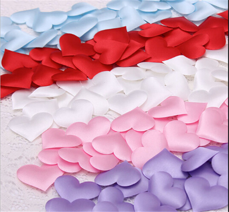 cheap 50pcs Fabric Heart dia 3 5cm Wedding Party Confetti Table Decoration birthday party Decorative Supplies