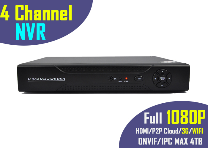 Full 1080P 4 Channel NVR for HD IP camera support P2P Cloud HDMI port for 4ch ONVIF IP security Linux surveillance system(China (Mainland))