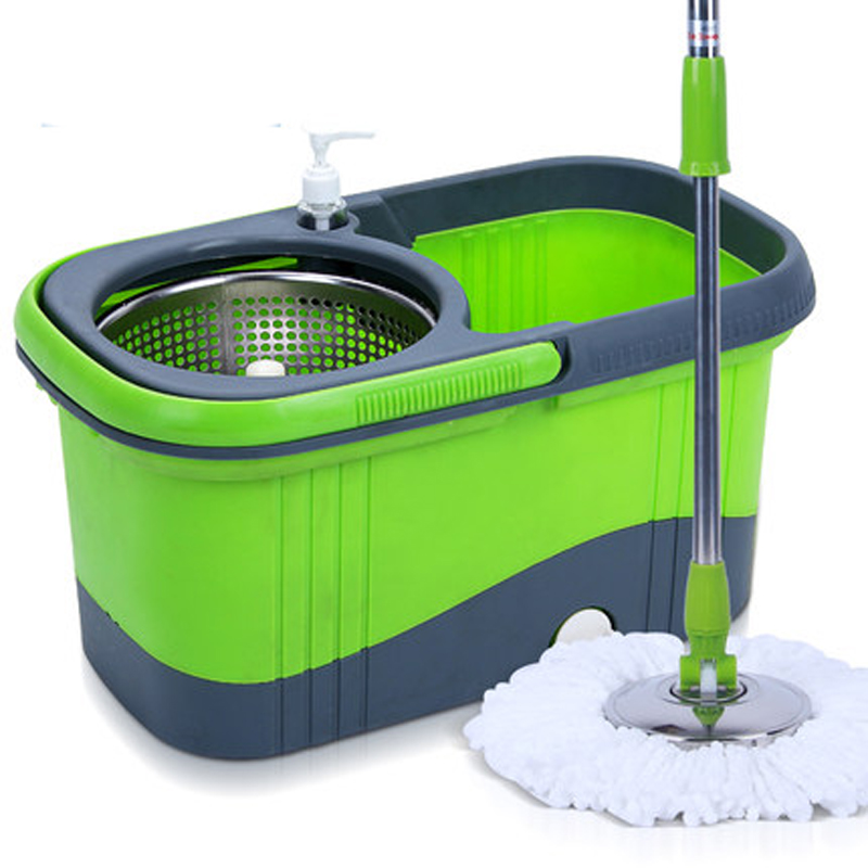 360 rotating pedal drive stainless 3 colors easy Magic Floor cleaning mop bucket with 2 Microfiber mopheads(China (Mainland))
