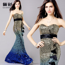 2014 Married Paillette Fish Tail Mermaid Formal Dress Tube Top Strapless Gold Sequins Design New Long Evening Dresses(China (Mainland))