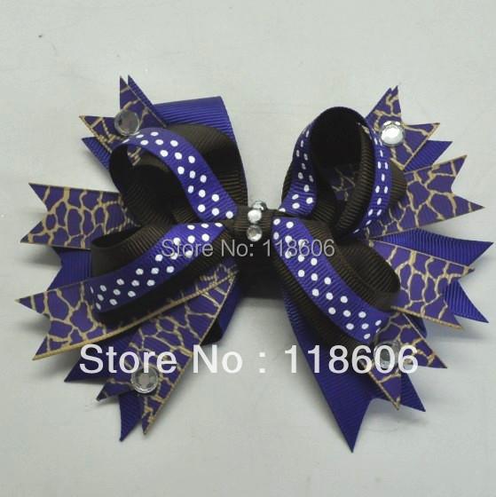 Fashion Design Navy Giraffe Printed Grosgrain Ribbon Stacked Bow Hair Clip(China (Mainland))