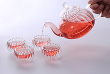 Glass teaset coffee set 600ml teapot 1 round warmer base 6pc 50ml double wall tea cup