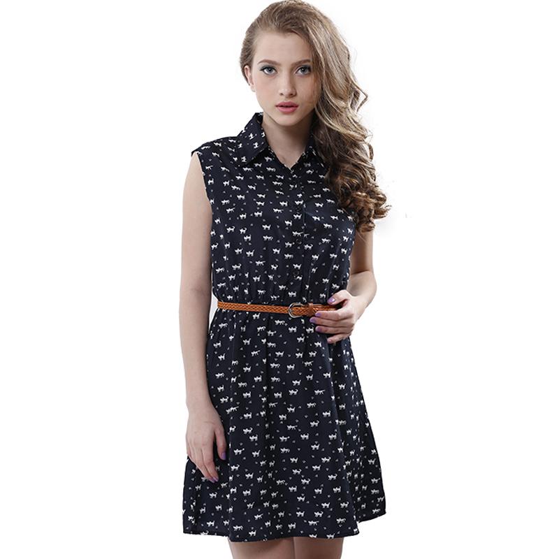 summer 2016 fashion new women shirts dress Cat footprints pattern Show thin Shirt dress casual dresses with Belt(China (Mainland))