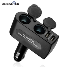 Rocketek 3.1A/15.5W Dual USB Car Charger Adapter with 2 Socket Car Cigarette Lighter Splitter Adapter with Build-in Fuse