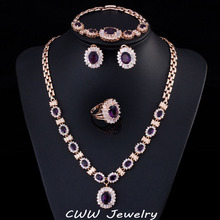 4 Piece Luxury Gold Plated Indian Wedding Party Jewelry Sets Purple Cubic Zirconia Bridal Accessories For Women T230(China (Mainland))