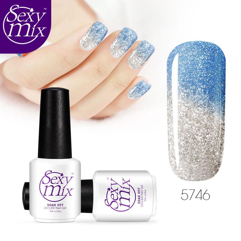 Sexy mix Temperature Nail Gel Changing Color Thermal UV Nail Gel Polish Soak Off UV/Led Nail Polish Blue Color Gel Lacquer(China (Mainland))