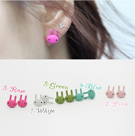 lovely colorful rabbit Earrings For Women Hot Fashion European and American Stud Earrings Little rabbit earring color paint(China (Mainland))